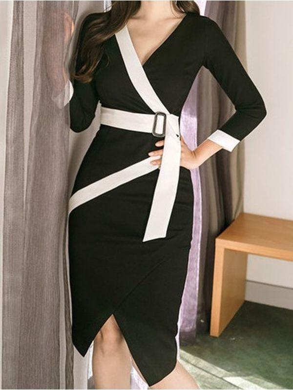 d8a530edb0 Cosmopolitan Black   White Sharp Office Formal Wear Slick Pencil Dress with  ...