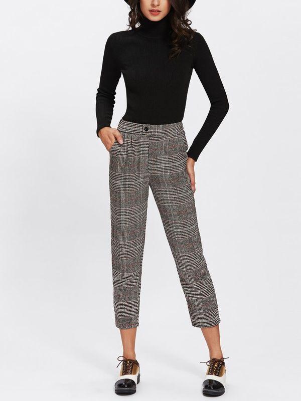 Cosmopolitan Plaid Semi Formal Button Detail Crop Pants
