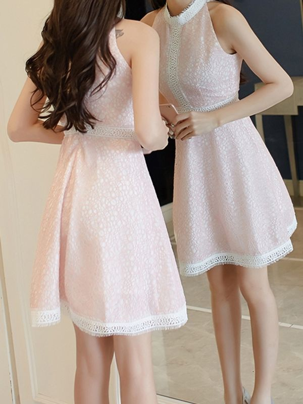 Cute Subtle Pink Summer Elegant Lace Sleeveless Dress 82af0e48c