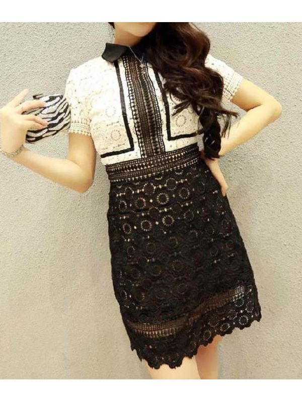 4f924ad313 Hollow Out Lace Short Sleeve Slim Wear Dress | Ssw7nxfe120317