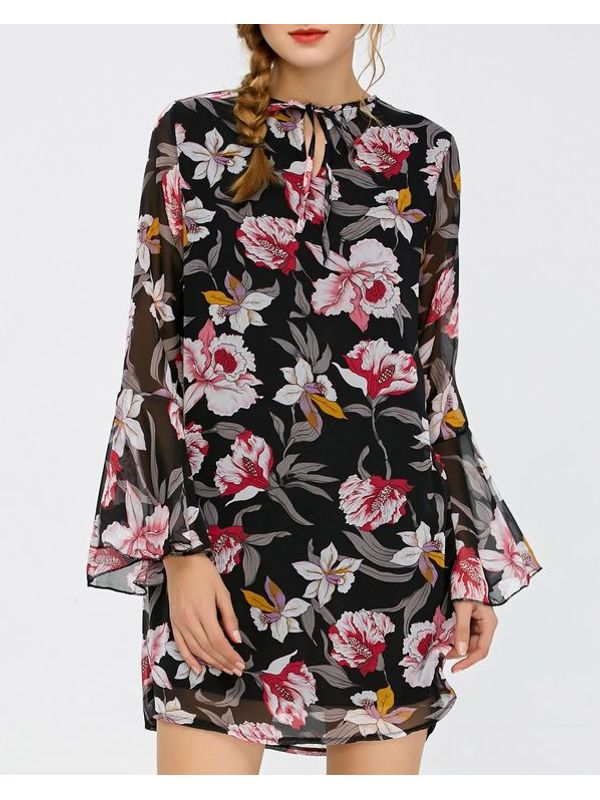 Cute Floral Long Sleeve Casual Dress