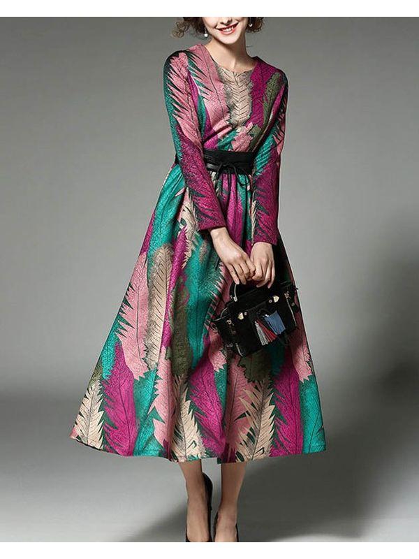 High End Printed Designer Long Mid Calf Length Dress