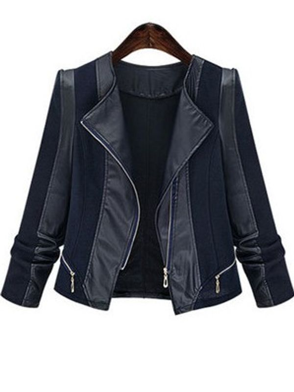 HIpster Turndown Collar PU Coat And Jacket
