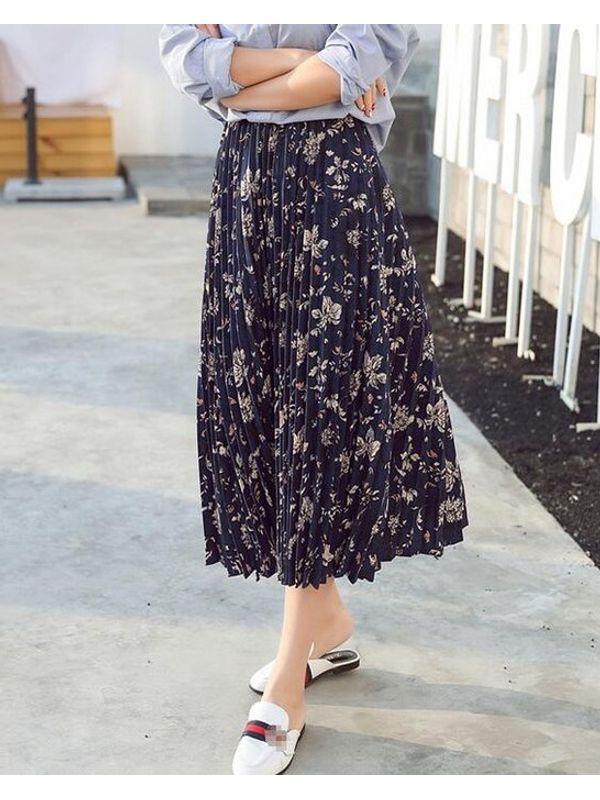 Vintage Print Chiffon Pleated Skirt