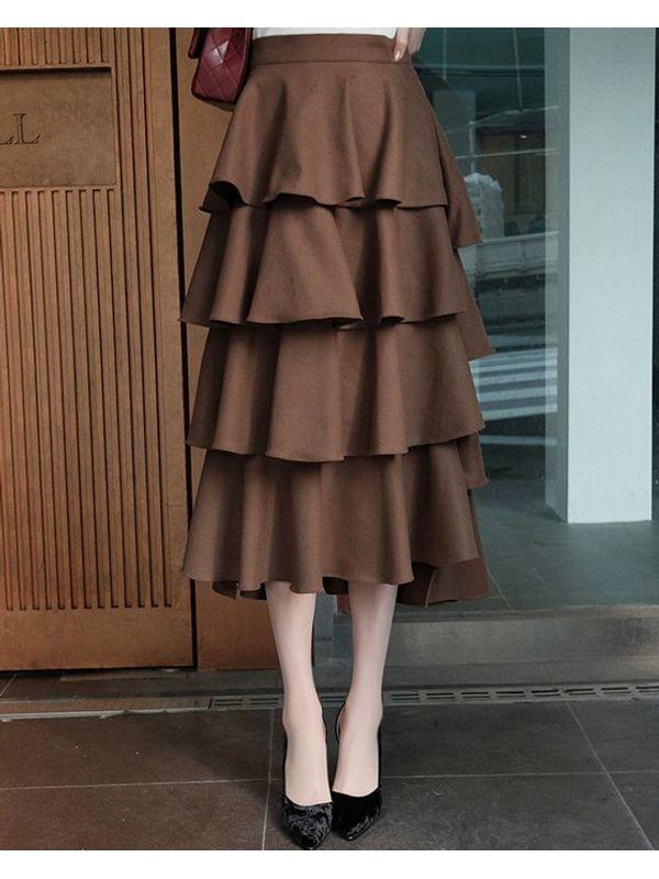 Khaki High Waist Ruffle Skirt Bottom