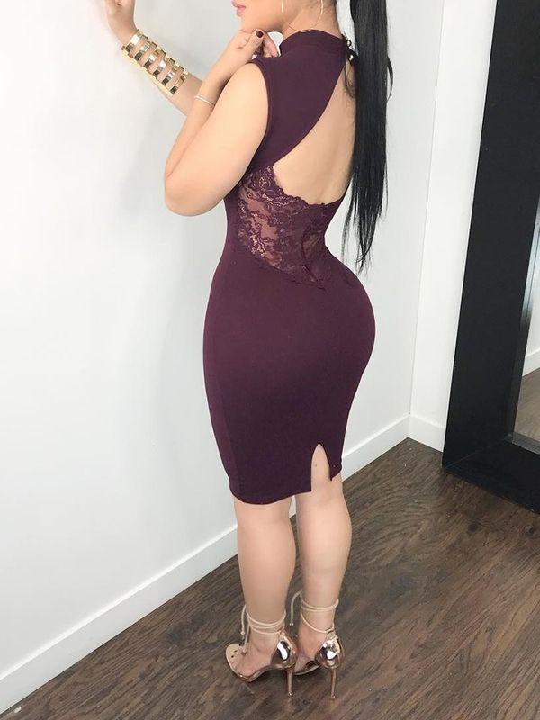 da89deb1099e Deep Neck U Cut Backless Sexy Bodycon Dress