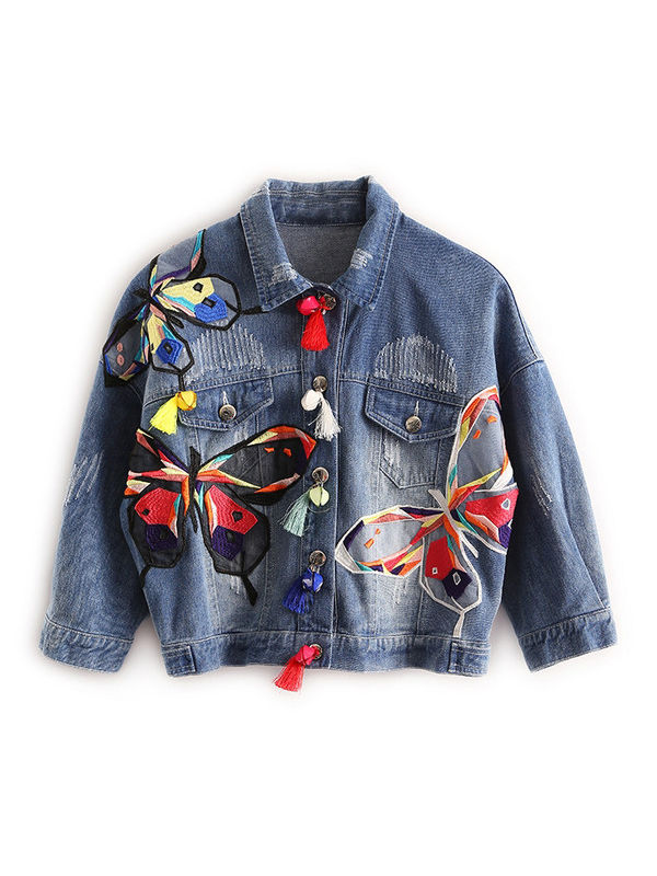4b532428805 Designer Embroidery Denim Jacket - Also in Plus Size