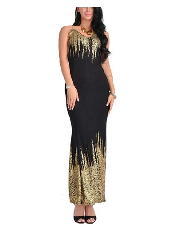 Diva Style Bling Contrast Fishtail Sequined Maxi Dress