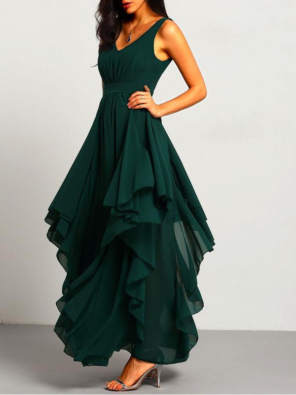 Diva Style Multi Layer Green Deep V Neck Maxi Chiffon Dress