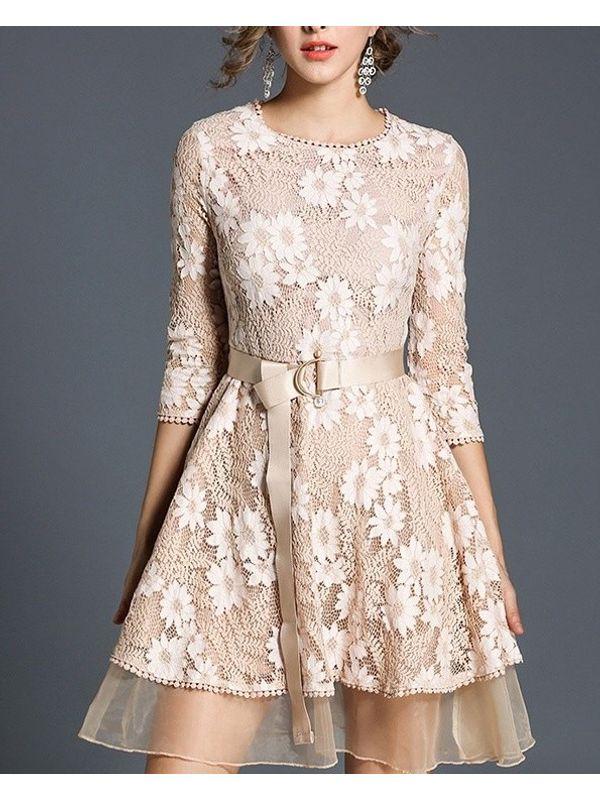 b9efed7b Elegant Apricot Designer Floral Lace 3/4 Sleeve A Line Dress with Belt
