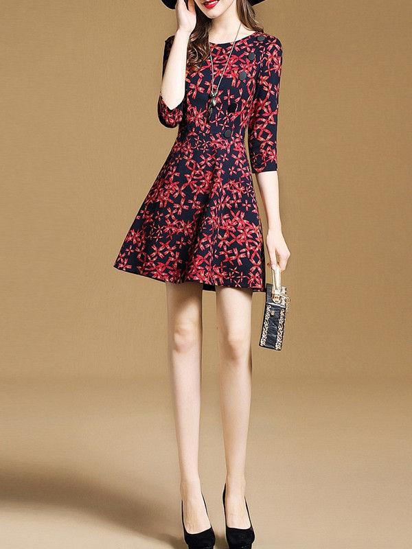 Elegant Floral Design 3 4 Sleeve A Line Dress