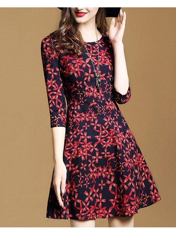7f3c0652b0 Elegant Floral Design 3/4 Sleeve A Line Dress