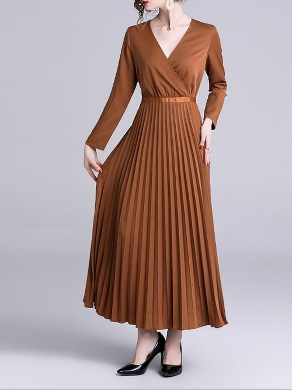 36f743ef87 Elegant V Neck Long Sleeve Pleated Maxi Dress