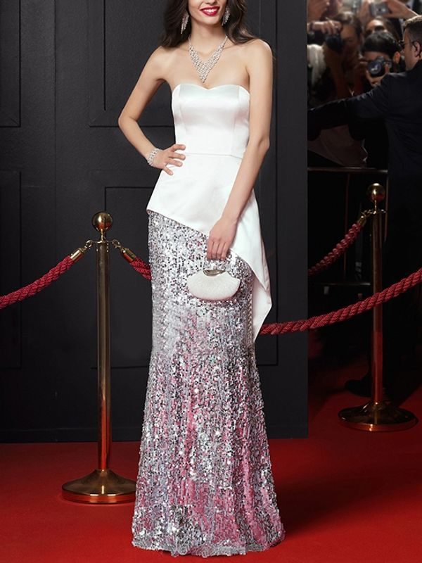 Exquisite celebrity design strapless sequined evening red - Designer red carpet dresses ...
