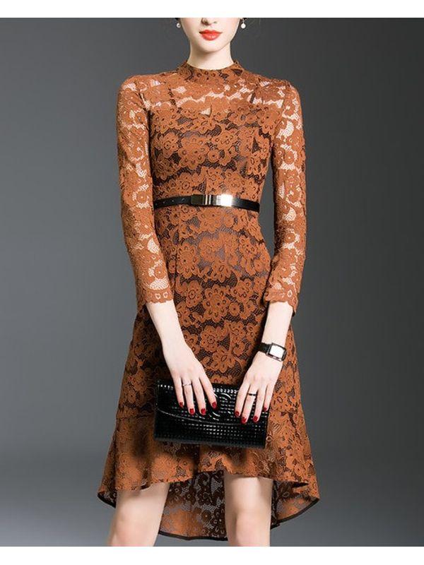 Chic Long Sleeve Asymmetric Lace Dress