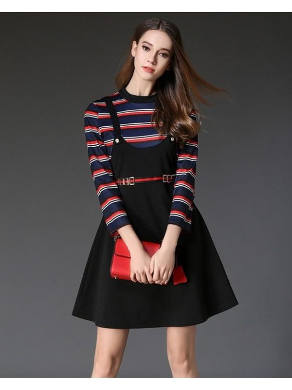 Cute Striped Long Sleeve A Line Dress
