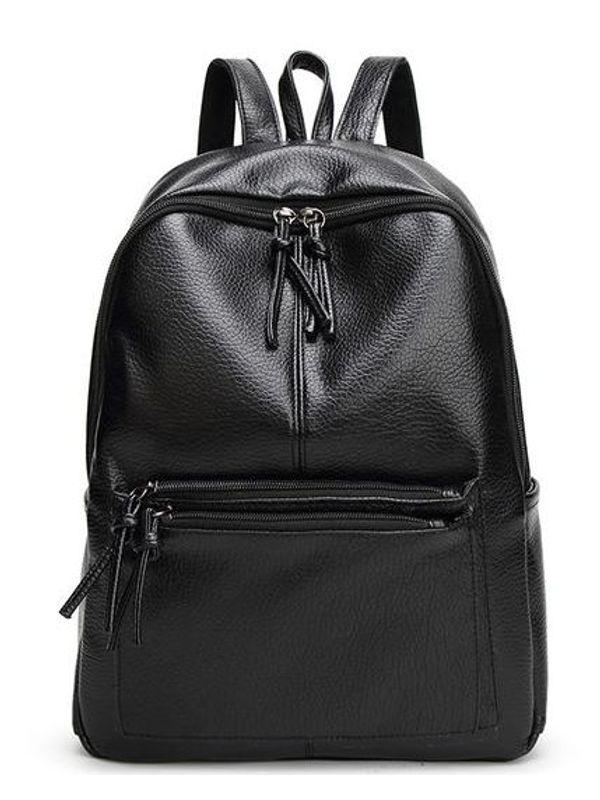 Punk Style Zipper Black Backpack
