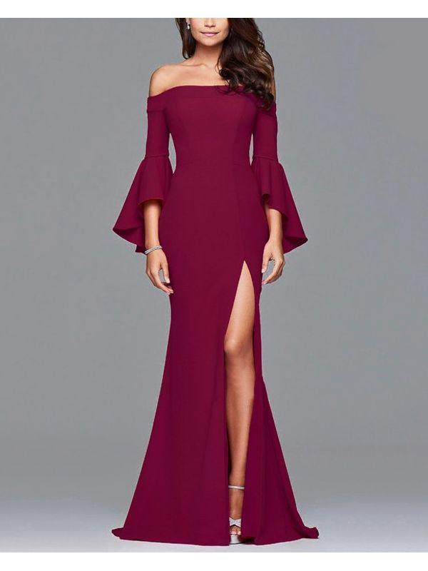 Floor Length Flared Sleeve Dress