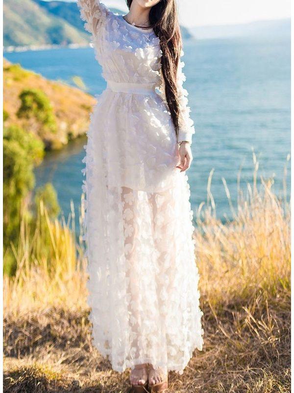 0ae38e8fd43 Fairy Style Stereo Floral Women Maxi Dress