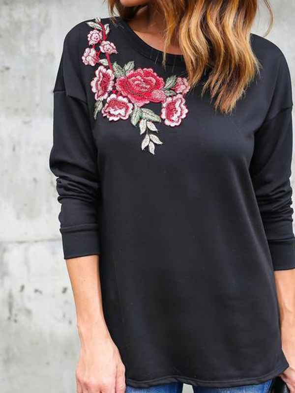 Flower Embroidery O Neck T Shirt Design