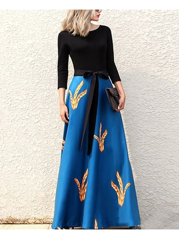 eaa139e00cc Fresh Contrast Full Sleeve with Floral Blue Long Maxi Dress
