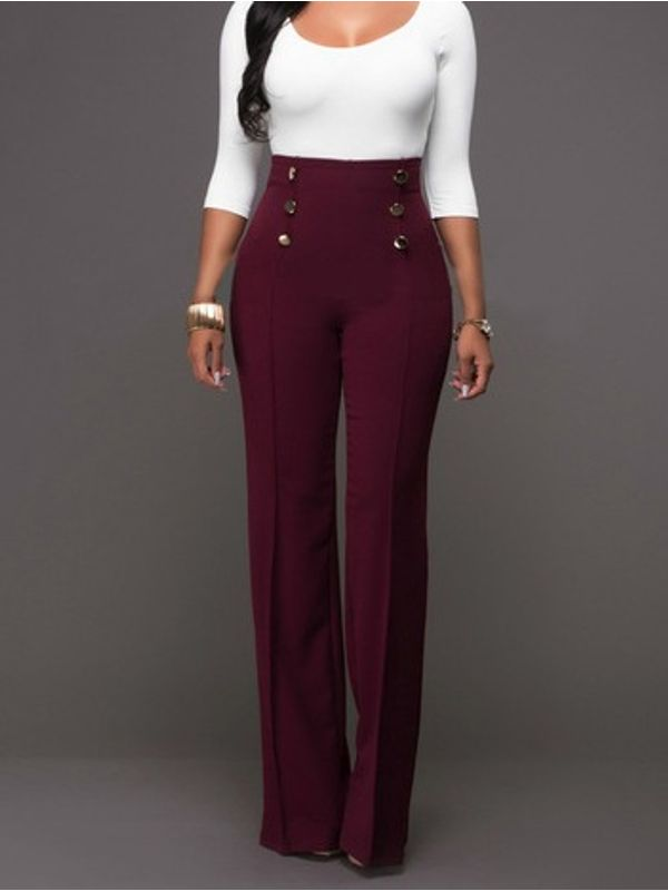 56f0240702999c Wine Red High Waist Button Styling Solid Boot Cut Pants - Ships in 24 hrs