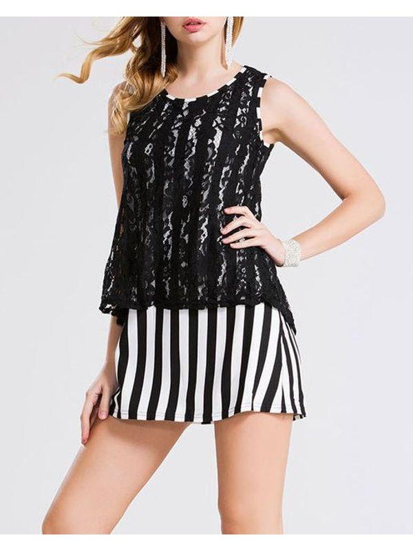 Lace Overlay Patchwork Stripe Black Dress