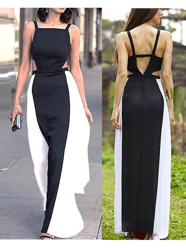 Stylish Spaghetti Strap Patchwork Ankle-Length Maxi Dress