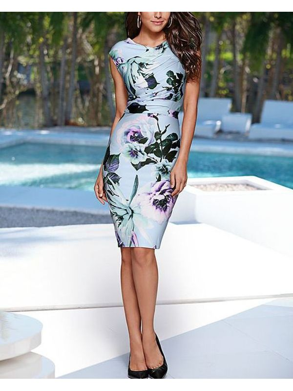 Suave VBack Floral Print Body-con Dress