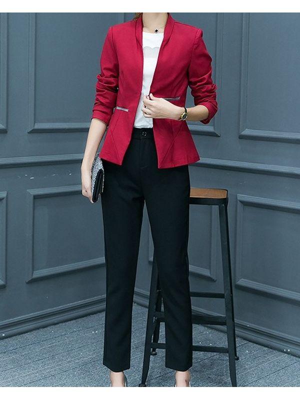 Suave Solid Coat With Long Pants Women Suit Ssw7namj071122