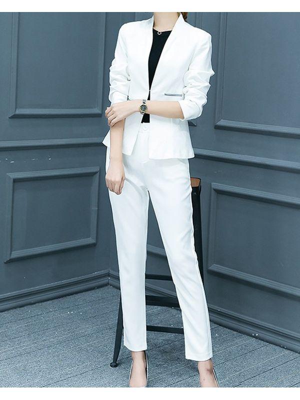 Suave Solid Coat with Long Pants Women Suit