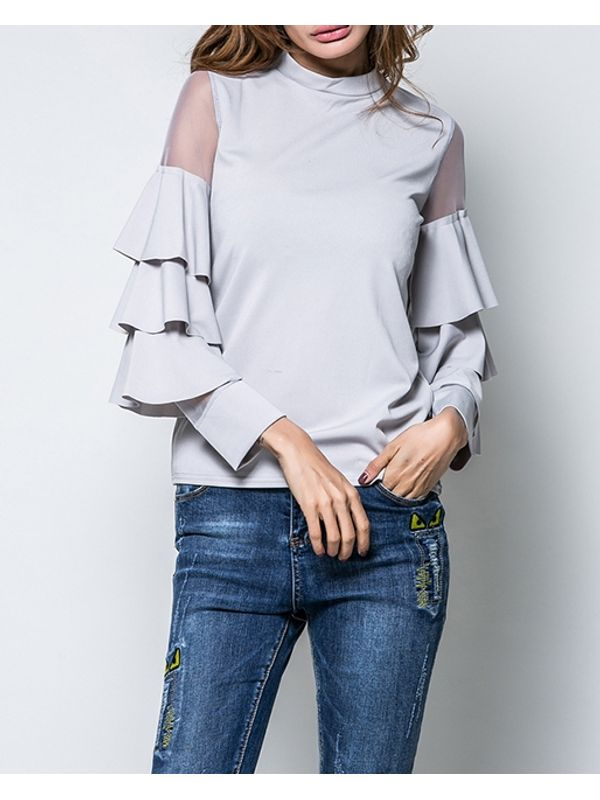 New Ruffle Design Long Sleeve Blouse Top