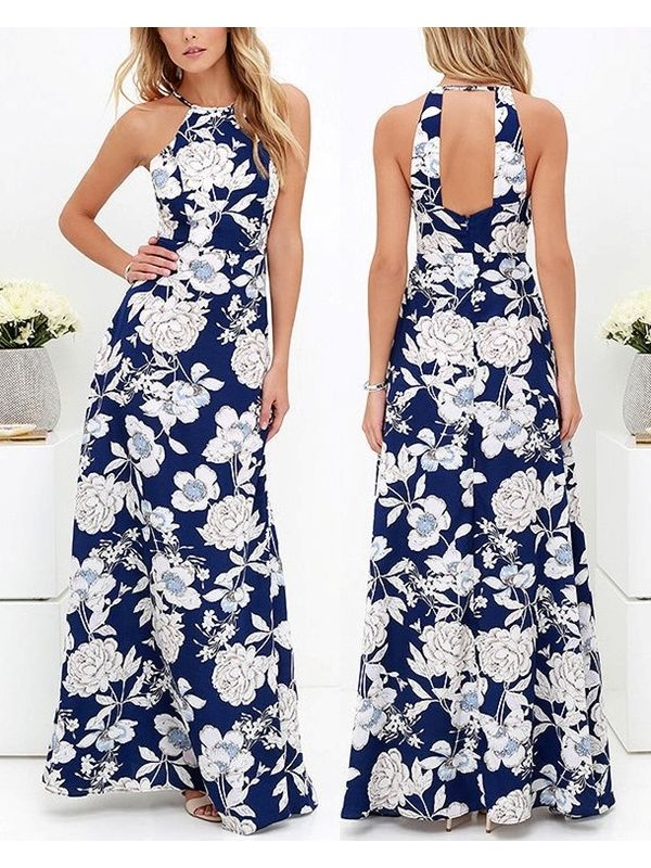 Halter Style Backless Floral Printed Bohemian Maxi Dress