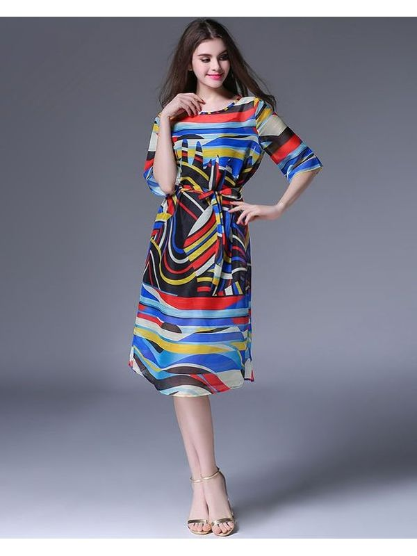 3920774d4dcf Colorful Print Crew Neck Lack-up Midi Dress