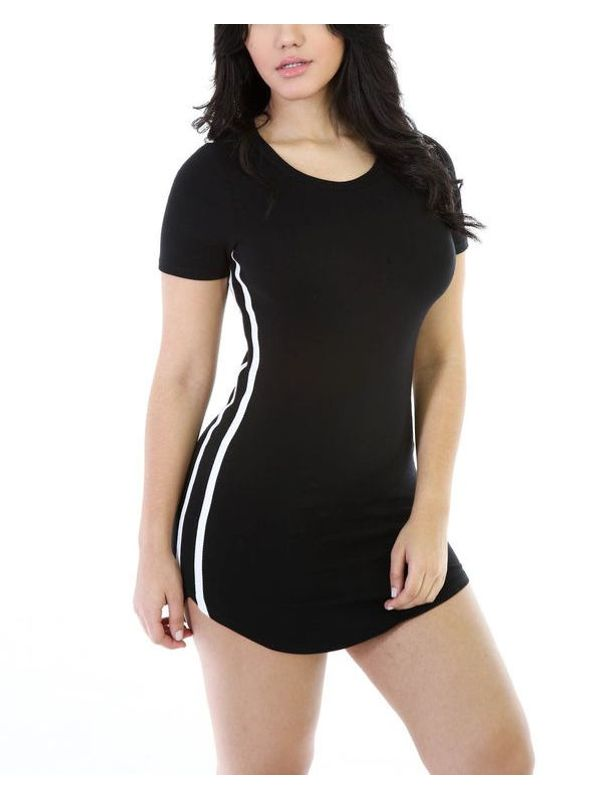 Sporty Tennis Style Solid Stripe Dress