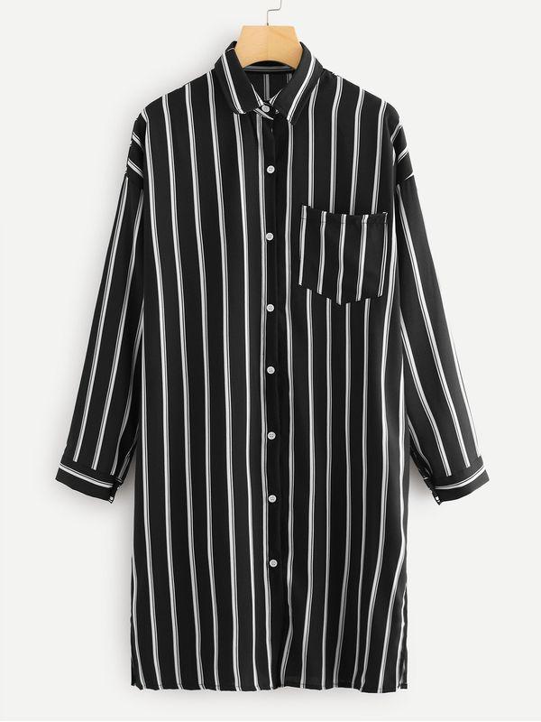 74dc9a60f479 Leisure Shirt Dress Black Full Sleeve with Pocket