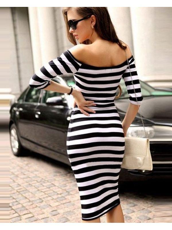 Black Boat Neck Striped Knee-Length Long Sleeve Bodycon Dress