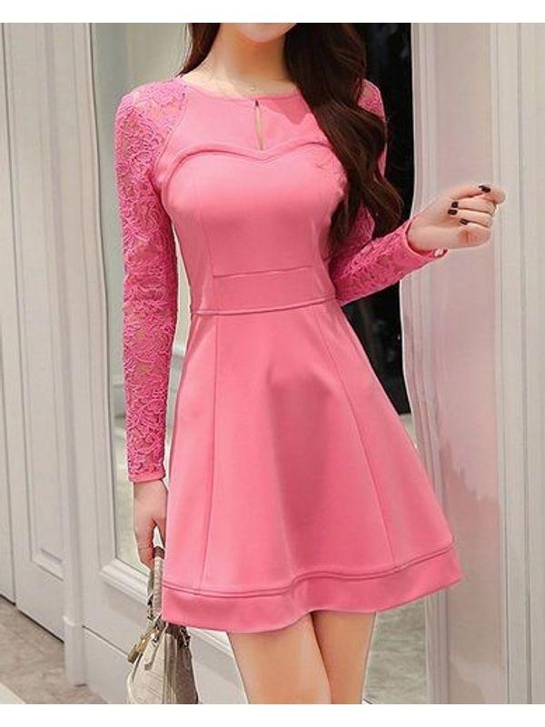Elegant Rose Lace Split Fitted Dress