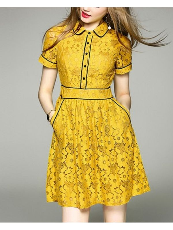b4ef125bf309 Suave Doll Collar Contrast Trim Yellow Lace Dress | Ssw7nafj052359yl