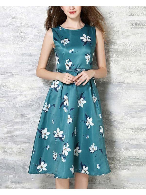 SpearMint Green Floral Pleated Beautiful Dress