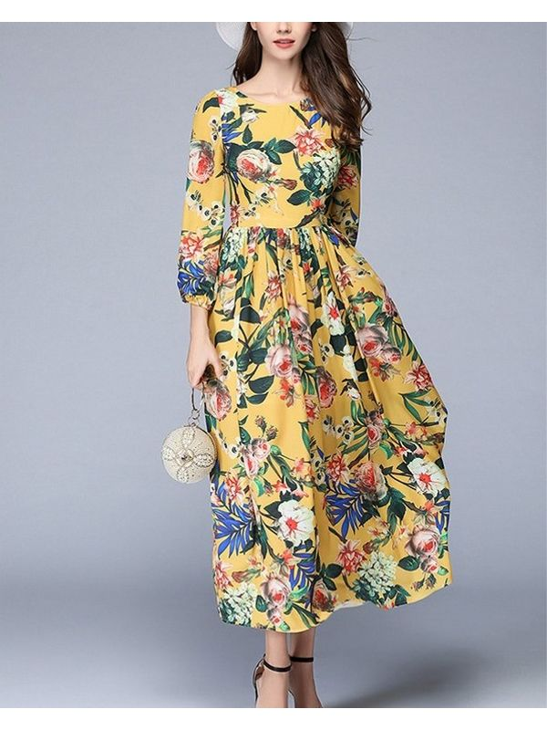 3ccfb9bb3c Home · Euro Floral Printed Long Sleeve Maxi Dress. Rs.200 Instant cashback  on payment by PayPal. Zoom · Euro ...