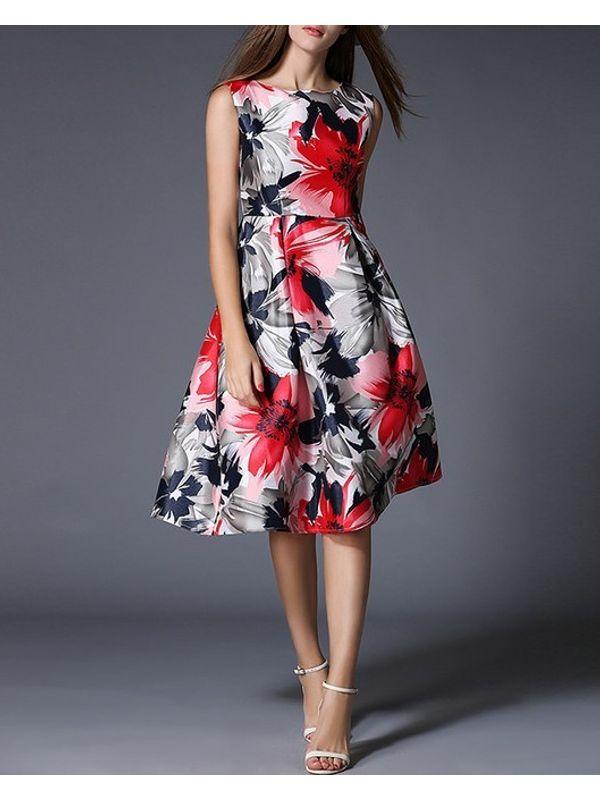 Euro Fashion Floral Slim Ruffle Boutique Dress