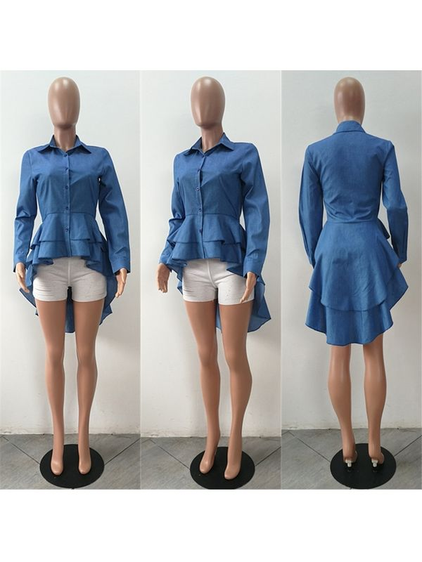 a5e891f44b455 Must Have Asymmetric Long Sleeve Denim Shirt - Also in Plus Size
