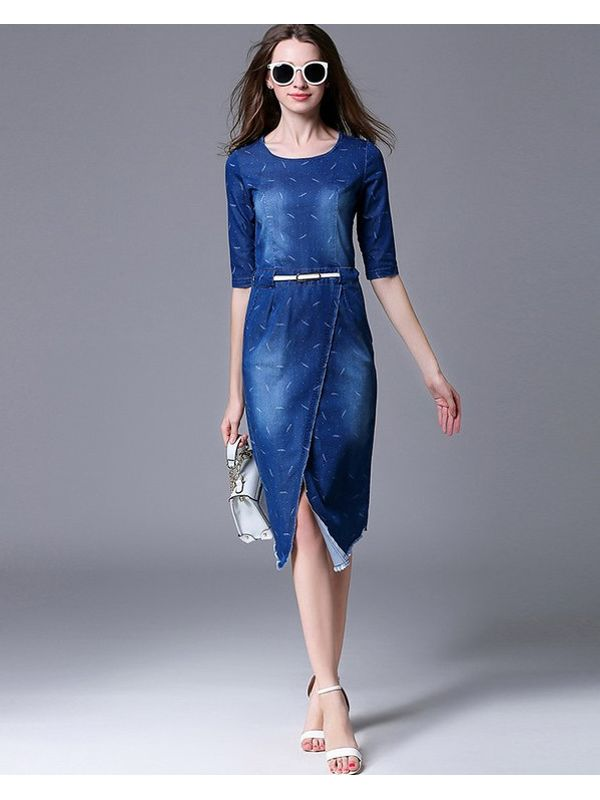 de402df0941f6 Premium Wrap Denim Dress With Gradient Fade Leaf Print ...