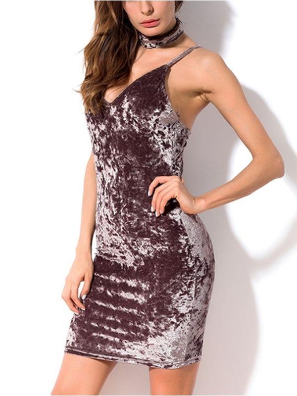 a618df6e1eab Neck Strap Velvet V Neck Fitted Slim Party Dress