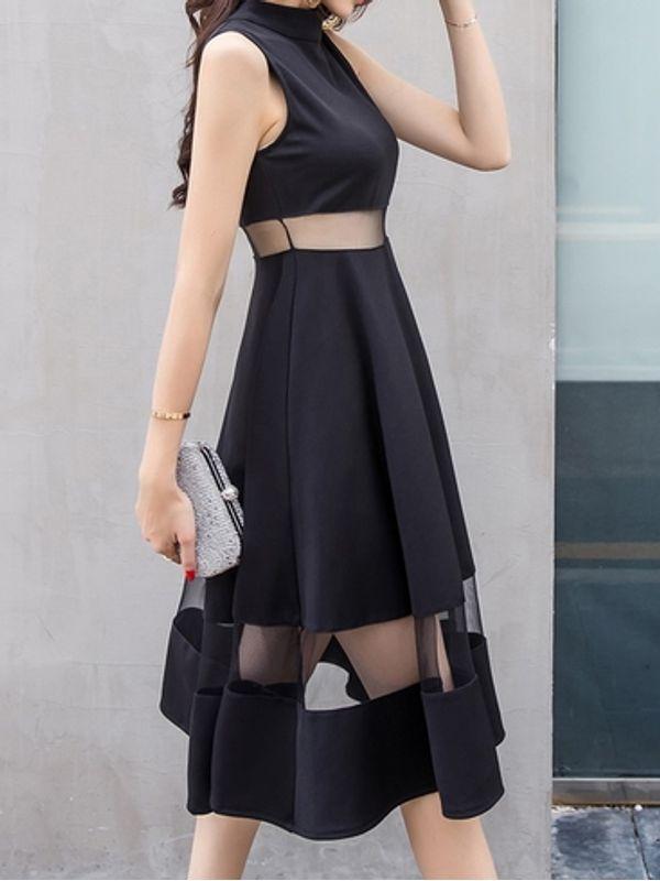 New Spring Summer Black Mesh Vintage Dress