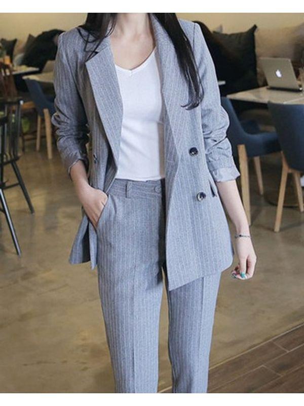 New Classic Look Lapel Stripe Formal Women Suit- Blazer ...