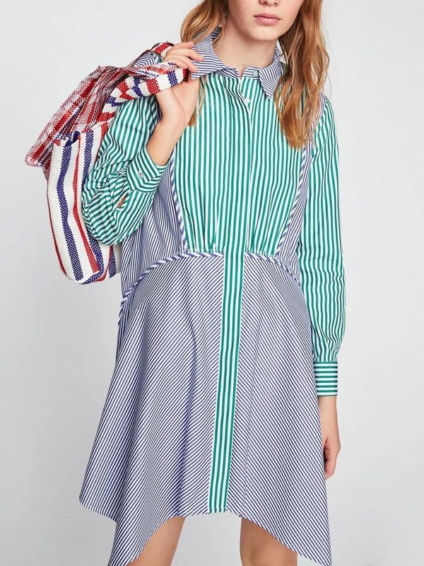 5902ed057dd35 New Cool Spring Colors Contrast Striped Shirt Dress - Also in Plus Size