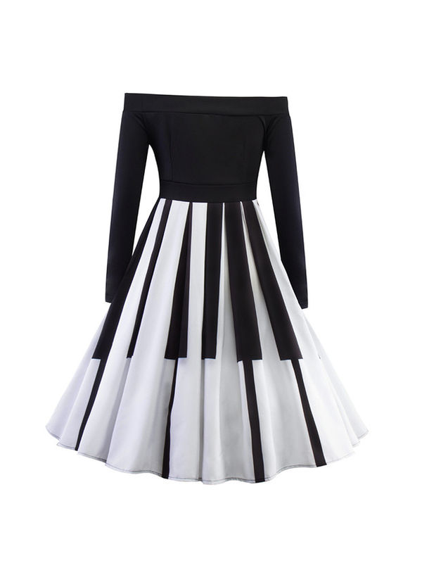 4b73b863177 New Piano Inspired Design Off Shoulder Musical Flare Knee Length Dress