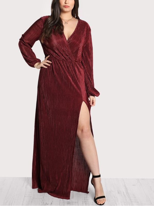 2a2ce290a7 New Sassy Red Carpet Burgundy Side Slit Ribbed Long Sleeve Maxi ...